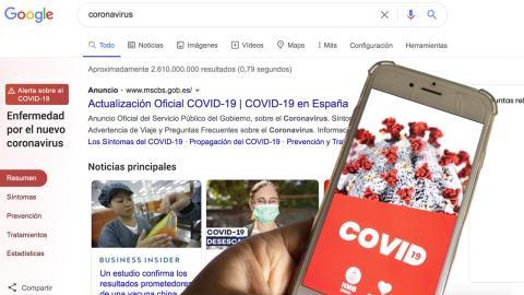 Búsqueda de coronavirus en Google