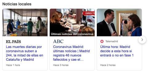 """Ejemplo de resultados con noticias locales para la búsqueda """"COVID-19"""" desde la provincia de Madrid"""