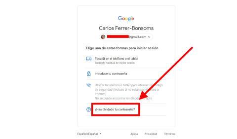 Como recuperar tu contraseña de Gmail