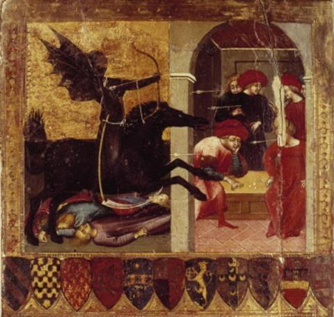 Esta alegoría se considera una representación de la peste y de su alto grado de contagio, y sugiere que, además catapultando cadáveres sobre ciudades sitiadas, la peste también puede transmitirse mediante el uso de flechas inoculadas