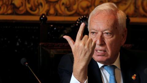 El eurodiputado Margallo, en una conferencia en Algeciras.