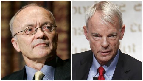 Finn Erling Kydland y Michael Spence, premios Nobel de economía.