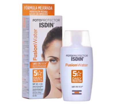 ISDIN Fusion Water: fotoprotector facial ultra-ligero SPF 50.