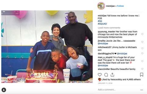 En la imagen, una vieja foto familiar compartida por la hija de Jordan, Jasmine.