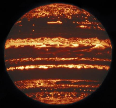 Jupiter in infrared light, as observed by the international Gemini Observatory on May 29, 2019.