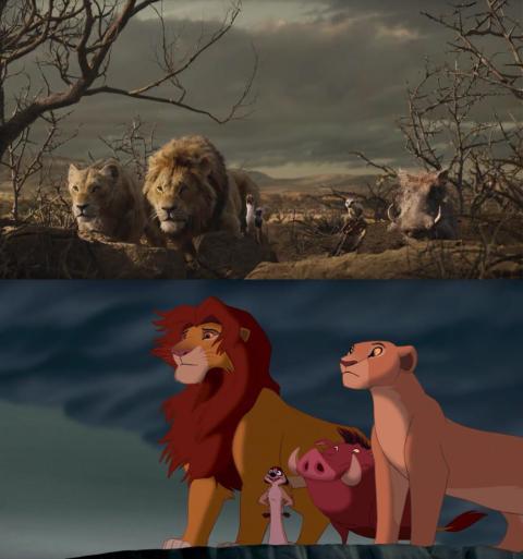 """Un vistazo al remake CG de """"El Rey León"""" junto al original animado."""