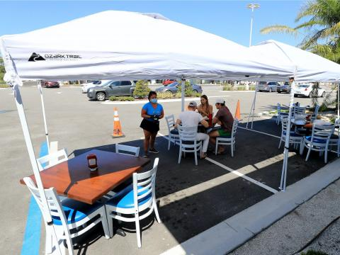 A restaurant's outdoor dining area.