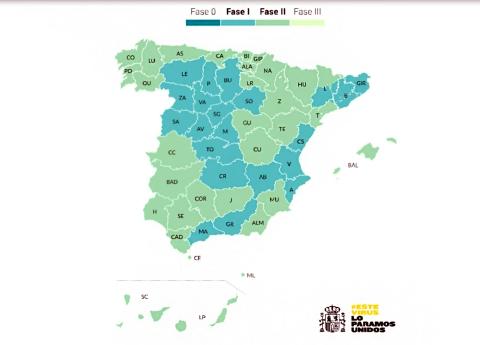 Mapa de España la situación de la desescalada por territorios.