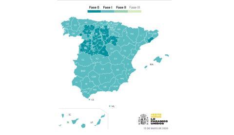 Mapa de las fases de desescalada en España