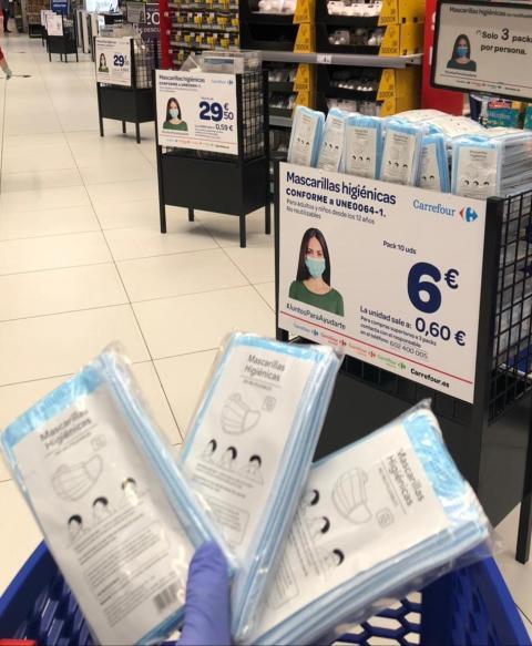 Mascarillas en Carrefour
