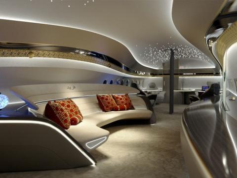 El concepto de diseño interior Genesis para el avión 737 Max de Boeing.