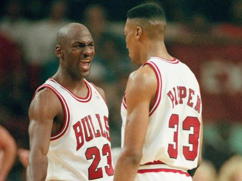 Michael Jordan con Scottie Pippen.