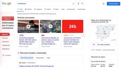 Página de resultados de coronavirus en Google.es