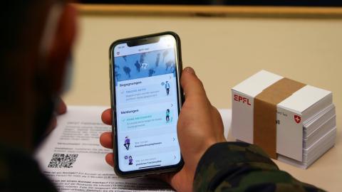 Un pantallazo de la app de rastreo de Suiza.