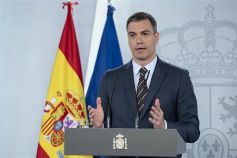 Pedro Sánchez, en una comparecencia.