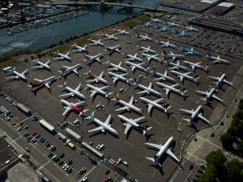 Los aviones Boeing 737 Max no entregados se encuentran en una propiedad de Boeing en Seattle, Washington.