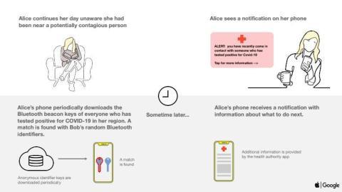 """Para preservar el anonimato, los usuariosrecibirán la notificación de que se han cruzado con un contagiado por coronavirus """"un tiempo después"""": la tecnología no mandará notificaciones en tiempo real."""
