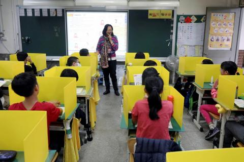 Pupils sit in desks with yellow dividers, set up as a measure against the coronavirus, at Dajia Elementary school in Taipei, Taiwan, on March 13, 2020.