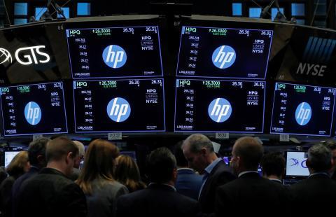 La sala de trading en la que se sigue el negocio de HP en la New York Stock Exchange (NYSE).