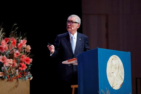 El premio Nobel de medicina, Tasuku Honjo durante la entrega del galardón, en diciembre de 2018.