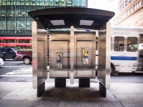 A phone booth.