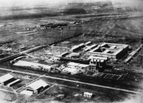 Vista aérea de la Unidad 731 en Pingfan, China.