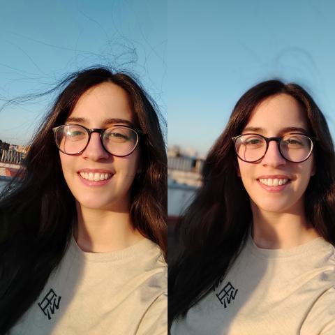 A la izquierda, cámara interna sin modo retrato; a la derecha, con modo retrato.