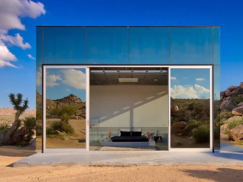 ... and sliding glass doors that open up to the outside.