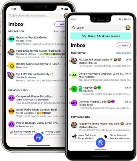 La aplicación Hey, que tiene una bandeja de entrada llamada 'Imbox' para los correos importantes.