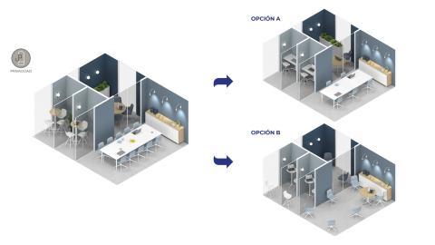 Apuesta por la distancia y privacidad en el rediseño de oficinas.
