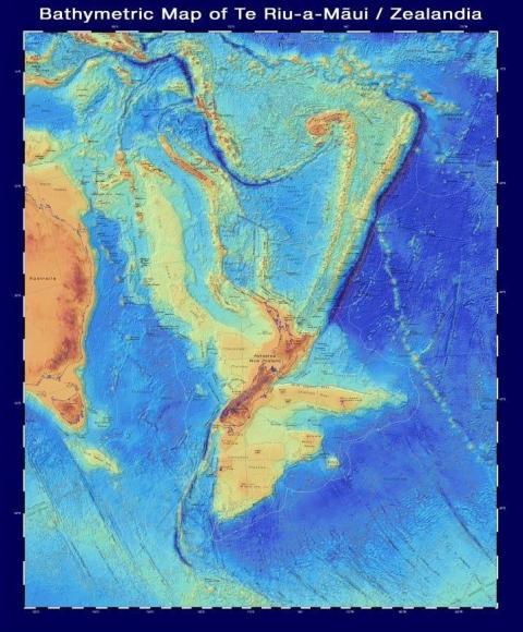 Un mapa batimétrico de Zealandia, que muestra la forma del continente bajo el agua.