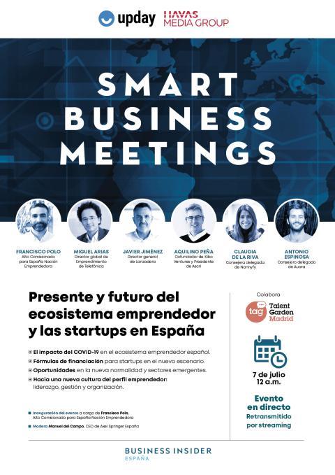 Cartel completo del SBM con emprendedores y startups