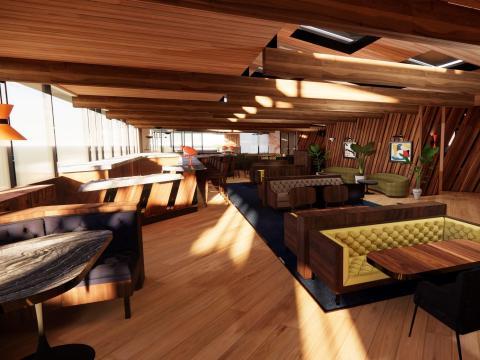 Los sofás en un hotel diseñado por Built, Inc. están situados de manera que eviten mezclar a gente.