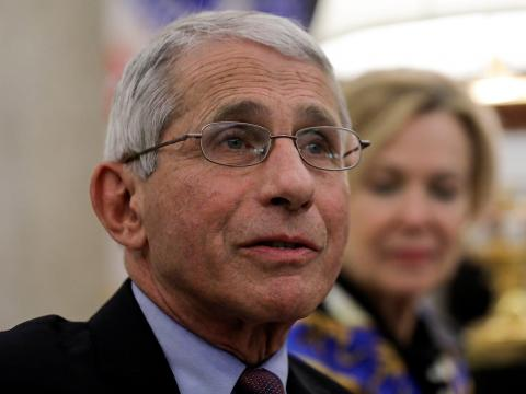 Dr. Anthony Fauci, director of the National Institute of Allergy and Infectious Diseases, speaks during a coronavirus-response meeting in the Oval Office at the White House, April 29, 2020.