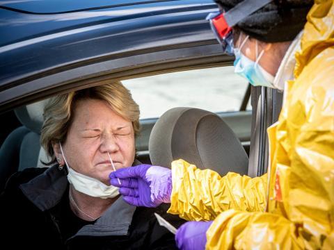 Pruebas de coronavirus en Jericho , Nueva York, el 22 de abril de 2020.