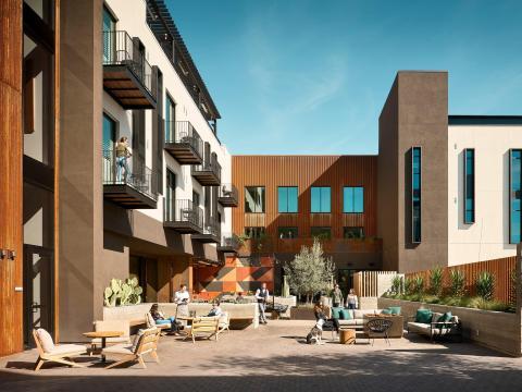 En el Hotel San Luis Obispo, diseñado por Gensler, hay una delgada línea entre el exterior y el interior.