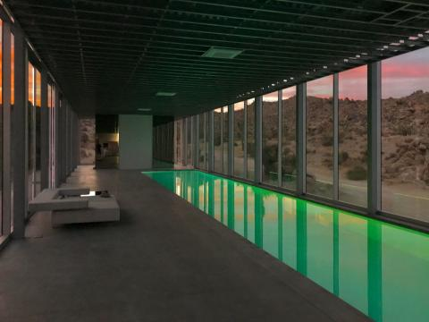 Hanley told Business Insider that one of his favorite details about the home is when the changing light outside integrates with the pool lights, which shift between blue, red, green, turquoise, and violet.