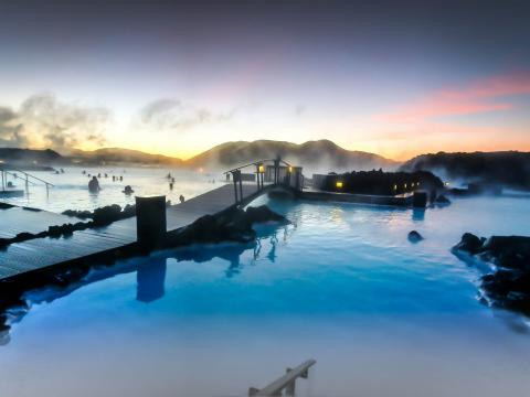 The Blue Lagoon at sunrise.