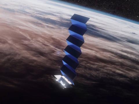 Una imagen del satélite Starlink rodeando La Tierra.