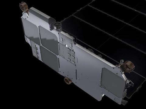 Ilustración de las cuatro antes de comunicación de la matriz de los satélites de Starlink de SpaceX