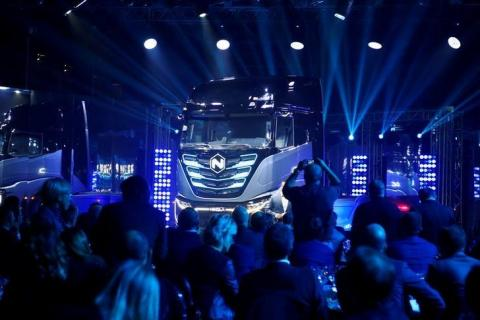 Italian-American industrial vehicle maker CNH's truck unit Iveco presents its new full-electric and hydrogen fuel-cell battery trucks in partnership with U.S. Nikola