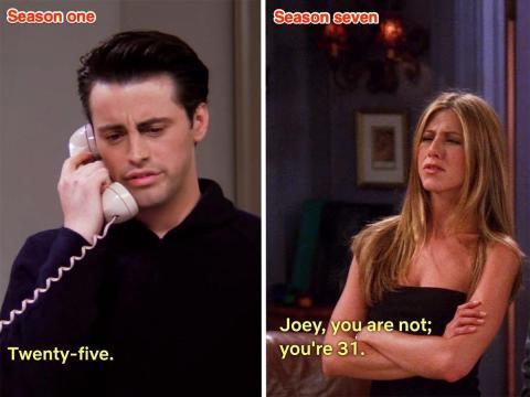 Joey en 'El del nacimiento' y Rachel hablando con él en 'El de la noche de Mónica'.