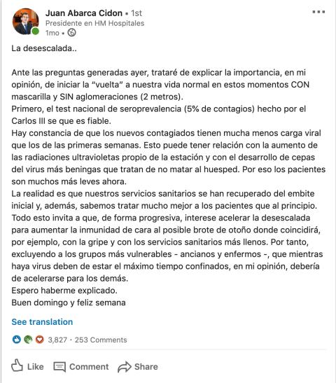 Uno de las crónicas publicadas en LinkedIn por Juan Abarca durante la crisis.