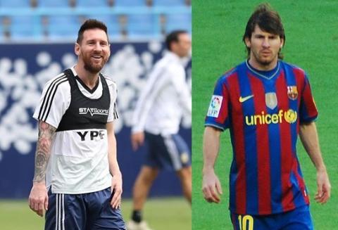 Leo Messi antes y después de tatuar su brazo.