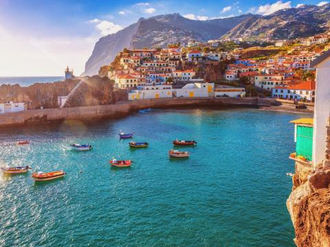 The fishing village of Camara de Lobos on the Portuguese island of Madeira.