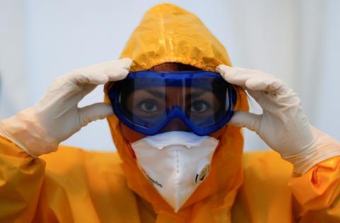 Una médico durante el coronavirus en Berlín.