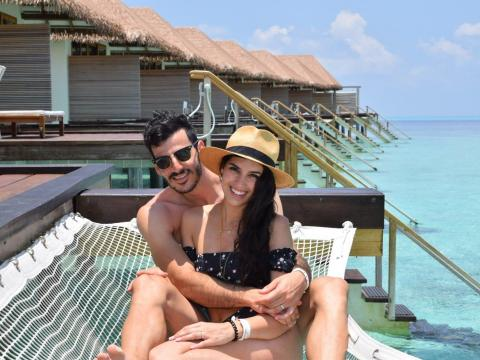 Olivia and Raul De Freitas in the Maldives.