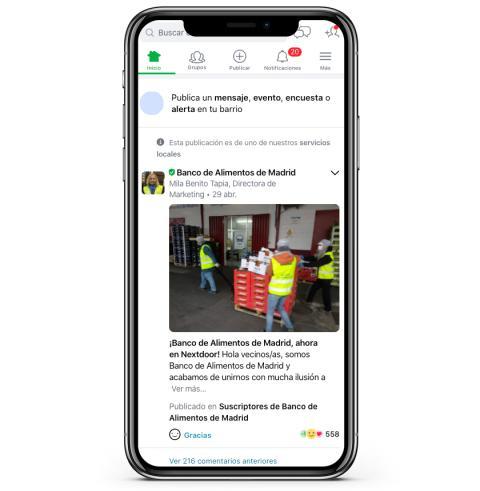Un pantallazo de Nextdoor.