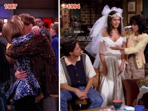 Rachel y Chandler en un flashback en 'El que el stripper llora'.