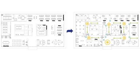 Plano general de cambio y diseño de reestructuración de oficinas.